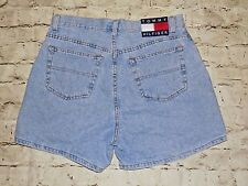 Tommy Hilfiger Womens Vintage High Waist Blue Denim Jean Shorts Spell Out Sz 12