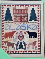 """Vintage Creative Circle Christmas Embroidery Kit #2153 SMALL WORLD 8/"""" x 10/"""" NIP"""