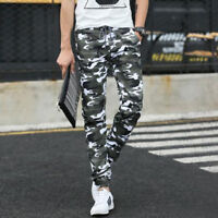 Mens Elasticated CAMOUFLAGE CASUAL ARMY PATTERN Pockets Pants Leggings Trousers