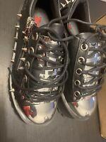 Men's Demonia Gravedigger Platform Oxford Black Vegan Leather Size M6 W8