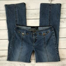 DKNY Jeans Size 11 Juniors Slit Front Seam 90's Flare Back Pocketless Low Rise