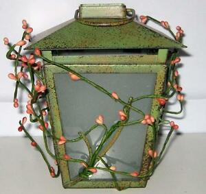 GREEN METAL VOTIVE CANDLE LANTERN Pink Flowers Holder