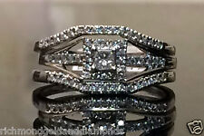 White Gold Princess Cut Halo Diamond Bridal Wedding 2 Band Each Side Ring Set