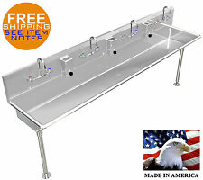 "WASH UP HAND SINK 4 USERS MULTI-STATION 84""=7' STAINLESS STEEL MANUAL FAUCETS"