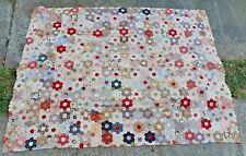 Authentic Victorian Patchwork Quilt - Hand Made Hexaganol Design
