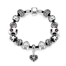 European Vintage Black Flower Charms Bracelet Love Heart Glass beads Bangle Punk