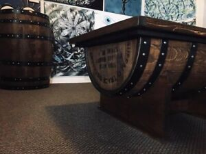 Wine Barrel Rustic Coffee Table Storage Vintage Furniture Farmhouse Dark Walnut
