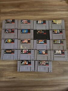 BIG Super Nintendo SNES Games Lot Bundle 18 games RARE GAMES