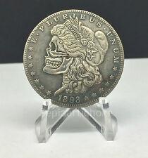 Morgan Silver Dollar Skull Fantasy Hobo Coin Pressed Art 1893 Skeleton Liberty