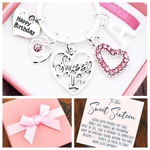 16TH BIRTHDAY GIFT, SWEET 16TH BIRTHDAY, SIXTEENTH KEYRING, GIFT BOX & GIFT CARD