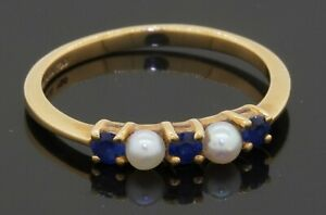 Tiffany & Co. vintage 18K gold .30CTW Blue sapphire/3.3mm pearl band ring