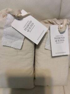 Restoration Hardware 2 Garment-Dyed Diamond Quilted White King Shams Linen