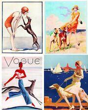 Vintage Beach Greyhound Dogs Art Notecards Set of 4 w/envelopes
