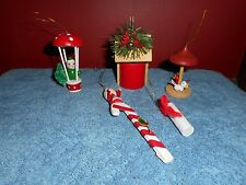 VINTAGE WOODEN CHRISTMAS ORNAMENTS LOT CANDY CANE HOT AIR BALLON MUSHROOM CANDLE