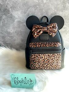 LOUNGEFLY NWT Disney 🦄 Minnie Mouse Sequin Bronze Belle Mini Backpack