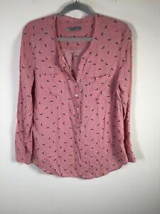 Just Jeans womens pink geometric long sleeve blouse shirt size 10 viscose