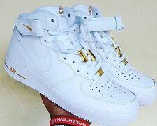 "Custom Nike Air Force 1 ""24k"" Mids Sz 12 Jordan Huarache Kanye Yeezy Supreme"