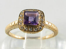 Amethyst Yellow Gold Ring Art Deco Fine Jewellery