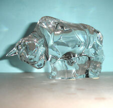 "Baccarat Charging Bull Figurine Collectible Crystal Animal 6.25"" Long"