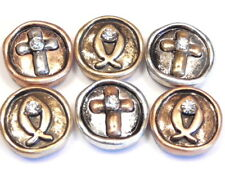 6 - 2 HOLE SLIDER BEADS METAL TRI COLOR CRYSTAL CROSS & FISH CHRISTIAN BEADS