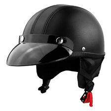 Adult Motorcycle Half Helmet - Black Leather Low Profile Helmet w/ Sun Visor
