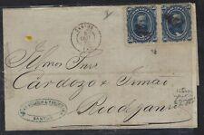 BRAZIL  (PP2701B) 1870  DOM PEDRO 50R PR ON COVER SANTOS TO RIO