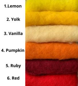 50G / 100G Pack - Needle Felting Carded Wool Batt Fibre Spin- Yellow Red Orange