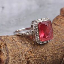 925 Sterling Silver CZ Tourmaline Cut Wedding Ring Jewelry Free Shipping AJ94