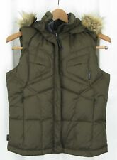 170836 Women's Xs Columbia Titanium Brown Down Puffer Vest Hooded Faux Fur Euc