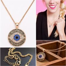 Evil Eye Necklace Hamsa Amulet Round Charms Pendants Gold Chain Gift For Women