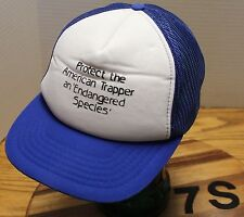 """VINTAGE """"PROTECT THE AMERICAN TRAPPER AN ENDANGERED SPECIES"""" TRUCKERS HAT VGC"""