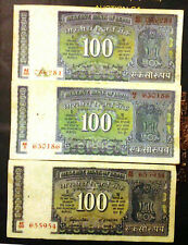 100 RUPEES 3 BANK NOTES WHITE STRIP DAM ISSUE SIGNED BY 3 DIFFERENT GOVERNORS