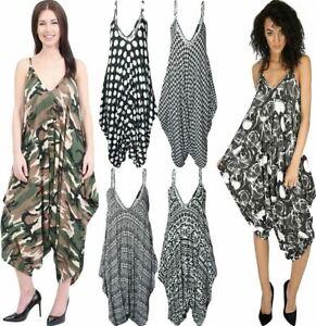 Womens Printed Harem Jumpsuit ladies Cami Romper Strappy Baggy Playsuit Dress