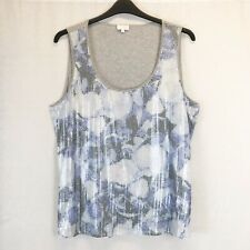 Escada Sport Grey Blue & White Floral Sequin Vest Tank Sleeveless Top UK XL