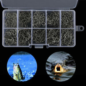 500pcs Fish Hook 10 Sizes Fishing Black Silver Sharpened With Box Quality kit SL