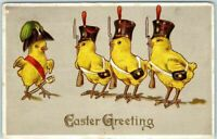 Easter Postcard~ Military Dressed Chicks Greeting Dressed Animal Fantasy-p158