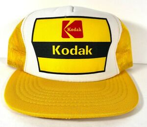 Kodak Film Camera - Snapback Hat Mesh Baseball Trucker Cap - vtg Yellow