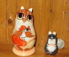 RUSSO dipinto a mano piccola bambola impilamento GINGER Cat & Oro Pesce mouse MAKAROVA