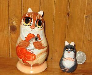 Russian Nesting Dolls Matryoshka Babushka GINGER CAT & GOLD FISH MOUSE signed