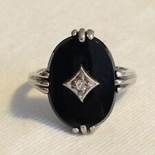 Vintage 10K White Gold Black Onyx Genuine Diamond Ring 4.2 Grams Size 6