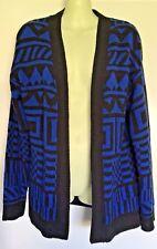 RIVERS Size S Blue & Black Geometric Knit Drape Cardigan