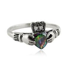 Claddagh Ring -925 Sterling Silver- CZ Rainbow Mystic Topaz Celtic Irish NEW