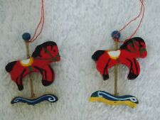 Vintage Lot Of 2 Miniature Red Carousel Horse Christmas Ornaments