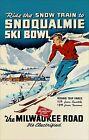 Snoqualmie Washington 1938 Ski Bowl The Milwaukee Railroad Vintage Poster Print