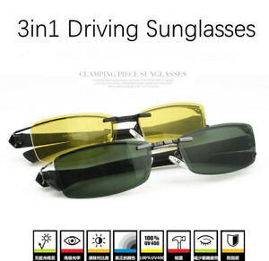 +2Pcs Polarized Magic Clip-on Sunglasses 3in1 Driving Eyeglasses Fishing Eyewear
