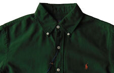 Men's RALPH LAUREN Hunter Green Cotton Shirt S Small NWoT NEW Orange Pony Nice!