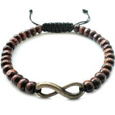 men's bracelet beaded infinity charm wristband wood beads accessory gift for men