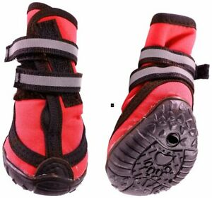ETHICAL SPOT FASHION PET DOG WATERPROOF BOOTS RED SET OF 4 LARGE. FREE SHIP USA
