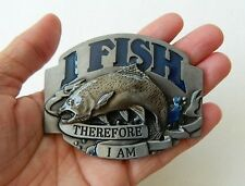 I FISH THEREFORE I AM BELT BUCKLE, HAND PAINTED, ZINC ALLOY, W/PEWTER FINISH