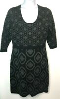 Isaac Mizrahi Live! Medallion Jacquard Knit Dress Black Size XL QVC A235249